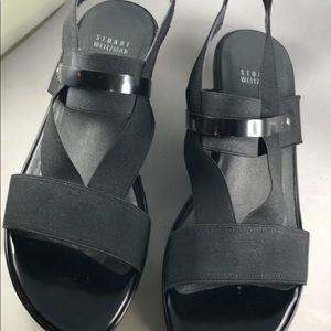 Stuart Weitzman Black wedge heel sandals, Sz 9M